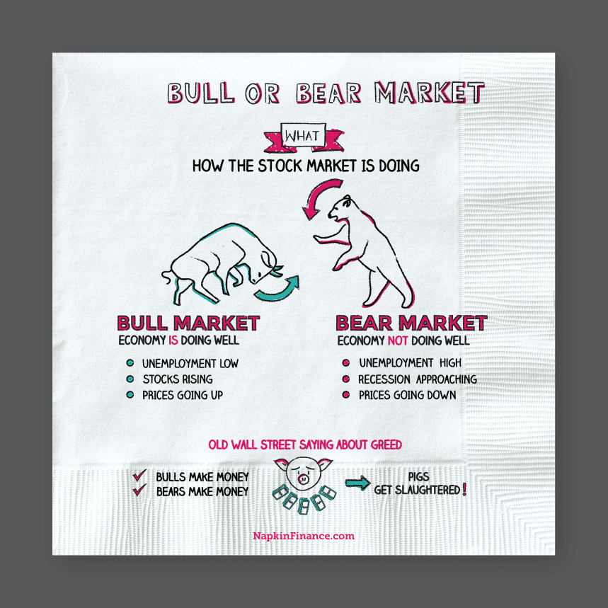 illustrated explanation of a bull or bear market on a paper napkin